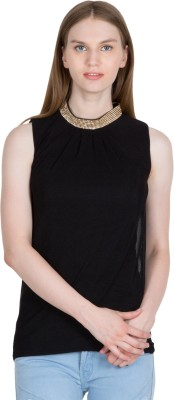 kaaf fashion Party, Festive, Wedding Sleeveless Solid Women's Black Top
