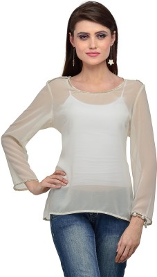 IR Acc Casual 3/4 Sleeve Solid Women's White Top