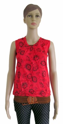 Membooz Casual, Party Short Sleeve Self Design Women's Red Top