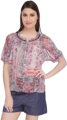 Lemon Chillo Casual Short Sleeve Floral Print Women's Multicolor Top