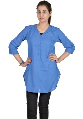 Indicot Casual, Party 3/4 Sleeve Printed Women's Blue Top