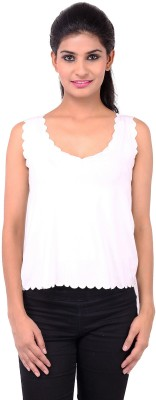 Zachi Casual Sleeveless Solid Women's White Top