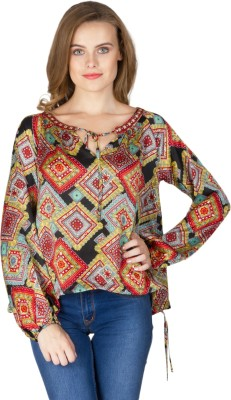 Instinct Casual Full Sleeve Printed Women,s Multicolor Top