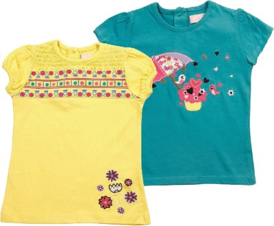 Jus Cubs Casual Short Sleeve Printed Baby Girl's Multicolor Top