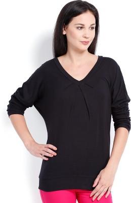 Ten on Ten Casual Full Sleeve Self Design Women's Black Top