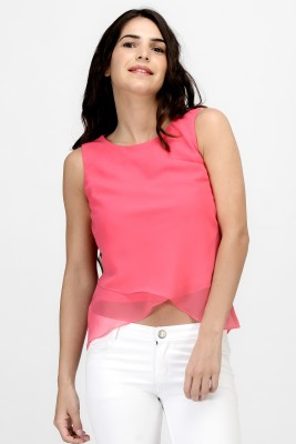 Satovira Party Sleeveless Solid Women's Pink Top
