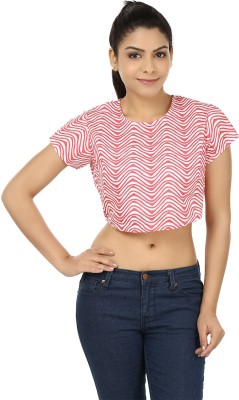 Modimania Casual Short Sleeve Printed Women's Pink, White Top