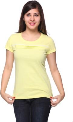 Strawberry Girl Casual Short Sleeve Self Design Women,s Yellow Top