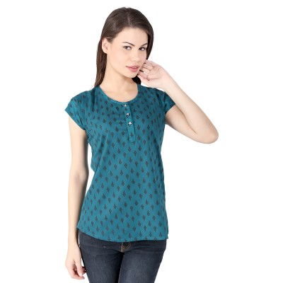 pinklady Casual Short Sleeve Printed Women's Blue Top