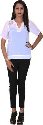 Rich Creations Casual, Party Short Sleeve Solid Women's White Top