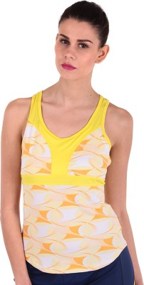 Sjoe Sports Sleeveless Printed Women's Yellow, White Top