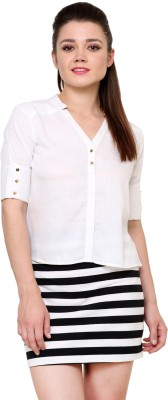 AT BY TARUNA Casual Short Sleeve Solid Women's White Top