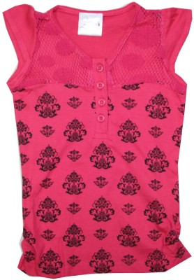 Kidsmasthi Casual Cap sleeve Printed Girl's Pink Top