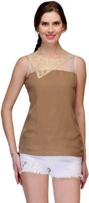 Raas Prêt Casual Sleeveless Solid Women's Brown, Gold Top at flipkart