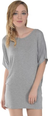 Trend Notes Casual Short Sleeve Solid Women's Grey Top