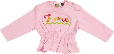 Fiorucci Casual Full Sleeve Self Design Girl's Pink Top