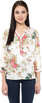 Harpa Casual 3/4th Sleeve Floral Print Women's White Top at flipkart