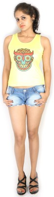 Fashion Fakir Casual Sleeveless Printed Women's Yellow Top