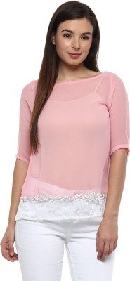 Pinwheel Casual 3/4 Sleeve Embroidered Women's Pink, White Top