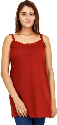Opiumstreet Casual Sleeveless Solid Women's Maroon Top