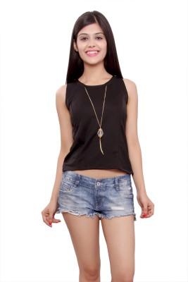 Maya Apparels Party Sleeveless Solid Women's Black Top