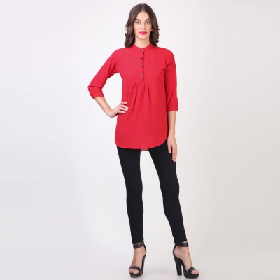 Vvine Party, Casual 3/4 Sleeve Printed Women's Red Top