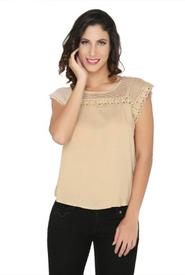 Philigree Casual Short Sleeve Solid Women,s Brown Top