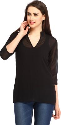 Cottinfab Casual 3/4th Sleeve Solid Women's Black Top at flipkart