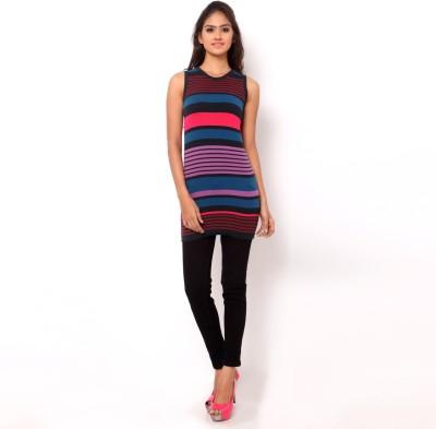 La Nina Casual Sleeveless Striped Women's Beige Top