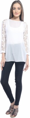 Florrie Fusion Casual Full Sleeve Solid Women's White Top