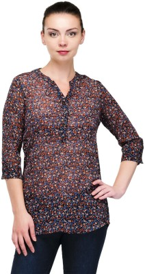 Pique Republic Casual 3/4 Sleeve Floral Print Women's Black Top
