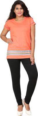 Habitude Casual, Sports Short Sleeve Printed Women's Orange Top