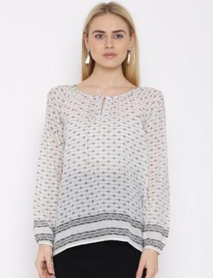 VAAK Casual Full Sleeve Printed Women's White Top