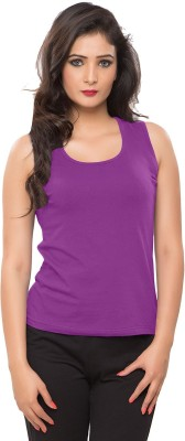 Softwear Casual Sleeveless Solid Women's Purple Top