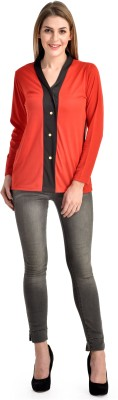 Yogalz Casual Full Sleeve Printed Women's Black, Red Top