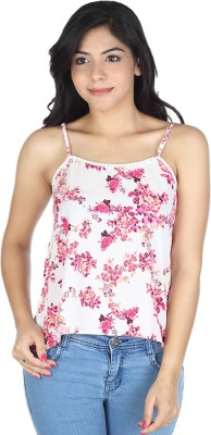 So Urban Casual Sleeveless Printed Women's Pink, White Top