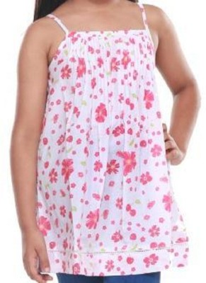 Trmpi Casual Noodle strap Floral Print Girl's White Top