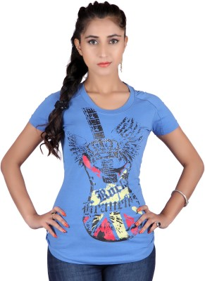 Raves Casual, Sports, Party Short Sleeve Printed Women's Blue Top