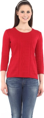 Miss Grace Casual 3/4 Sleeve Self Design Women's Red Top