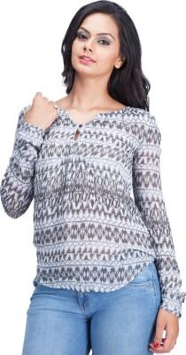 Colsa Casual Full Sleeve Printed Women's Grey, Brown Top