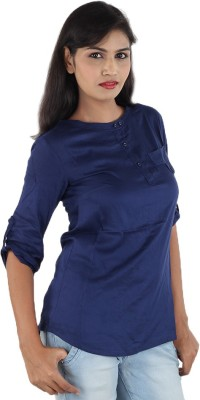 Aimeon Casual Full Sleeve Solid Women's Blue Top