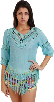 Holidae Casual 3/4 Sleeve Embroidered Women's Light Blue Top