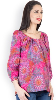 Tops and Tunics Casual 3/4 Sleeve Printed Women's Pink Top