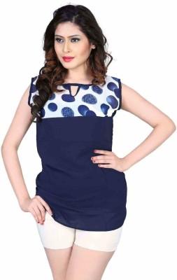 Aasvaa Casual Sleeveless Solid Women's Blue Top