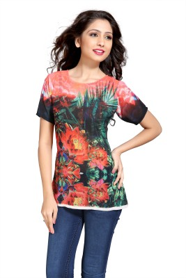 Eighteen4ever Party Short Sleeve Printed Women's Multicolor Top