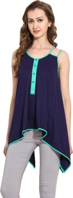 MSMB Casual Sleeveless Solid Women's Blue Top