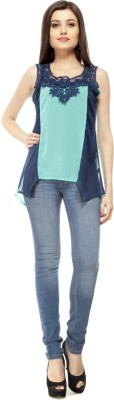 Pikucollections Casual Sleeveless Solid Women's Dark Blue, Green Top