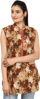 Fashion Cult Casual Sleeveless Floral Print Women's Brown Top