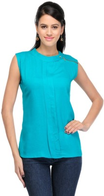 Visach Casual Sleeveless Solid Women's Green Top