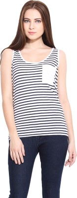 Hook & Eye Casual Sleeveless Striped Women's White, Blue Top